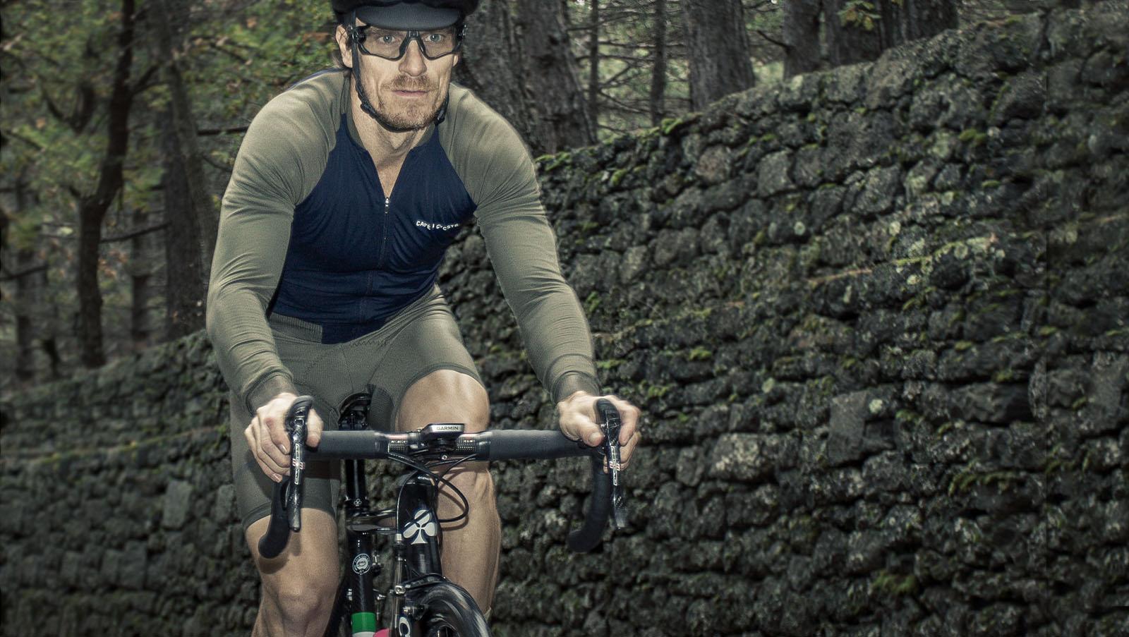 Cyclist riding in cafe du cycliste on Etna