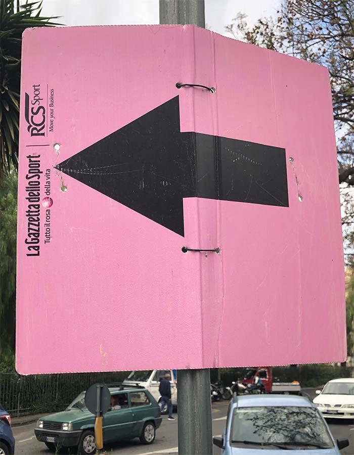 Giro d'Italia pink sign in Adrano, Sicily