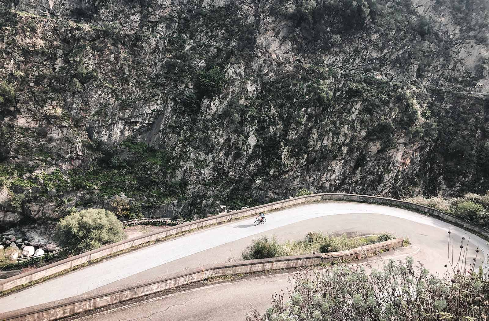 Cycling-through-the-best-hairpin-bend-in-sicily